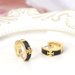 Tory Burch Kira Enameled Black Huggie Earrings